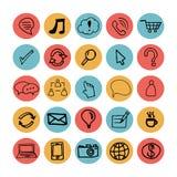Iconos planos dibujados mano del ejemplo Fotografía de archivo