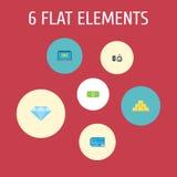 Iconos planos dinero, ordenador, joya Gem And Other Vector Elements El sistema de depositar símbolos planos de los iconos también libre illustration
