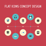 Iconos planos disquete, amplificador, disco duro y otros elementos del vector El sistema de símbolos planos de los iconos del ord stock de ilustración