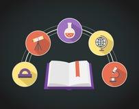 Iconos planos educativos Fotografía de archivo libre de regalías