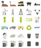 Iconos planos en el tema de la ecología Fotografía de archivo libre de regalías
