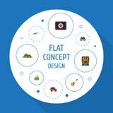 Iconos planos enfoque, arma, ubicación y otros elementos del vector El sistema de símbolos planos de los iconos que acampan tambi libre illustration