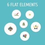 Iconos planos engranaje, financiamiento, discusión y otros elementos del vector El sistema de símbolos planos de los iconos de lo Foto de archivo
