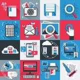 Iconos planos fijados Stock de ilustración