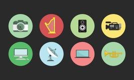 Iconos planos fijados Imagen de archivo libre de regalías