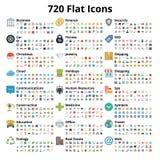 720 iconos planos fijados Fotografía de archivo