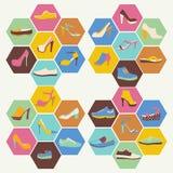 Iconos planos fijados de calzado de la moda Imágenes de archivo libres de regalías