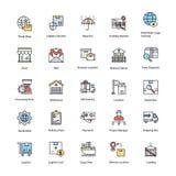 Iconos planos fijados de entrega de la logística Foto de archivo