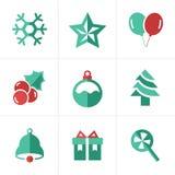 Iconos planos fijados, diseño de la Navidad del icono del vector Imagen de archivo libre de regalías