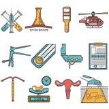Iconos planos fijados para la obstetricia Foto de archivo