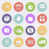 Iconos planos fijados - ventas y venta al por menor Imagen de archivo