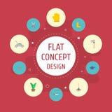 Iconos planos hacha, rastrillo, planta y otros elementos del vector El sistema de símbolos planos de los iconos de la agricultura libre illustration