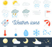 Iconos planos hermosos del tiempo fijados 22 iconos del vector para diversos tipos de tiempo Foto de archivo