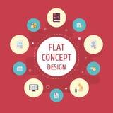 Iconos planos hoja, acto, plan contable y otros elementos del vector imágenes de archivo libres de regalías