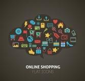 Iconos planos Infographic de las compras del estilo ilustración del vector