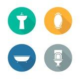 Iconos planos interiores del diseño del cuarto de baño fijados Imágenes de archivo libres de regalías