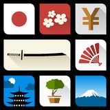 Iconos planos japoneses Fotografía de archivo libre de regalías
