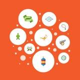 Iconos planos libro sagrado, malayo, Ramadan Kareem And Other Vector Elements El sistema de símbolos planos de los iconos del día stock de ilustración