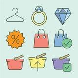 Iconos planos lineares del color del vector Fotos de archivo libres de regalías
