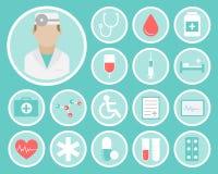 Iconos planos médicos Fotos de archivo libres de regalías