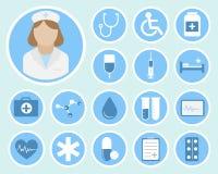 Iconos planos médicos Imágenes de archivo libres de regalías