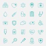Iconos planos médicos Fotografía de archivo libre de regalías