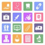 Iconos planos médicos fijados Fotos de archivo libres de regalías