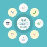 Iconos planos meta, teléfono, calendario y otros elementos del vector El sistema de Job Flat Icons Symbols Also incluye el peso Imagen de archivo