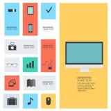 Iconos planos modernos Fotografía de archivo