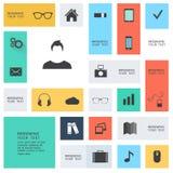 Iconos planos modernos Foto de archivo libre de regalías