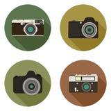 Iconos planos modernos de la cámara Imagenes de archivo
