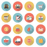 Iconos planos modernos del color que hacen compras Fotos de archivo libres de regalías