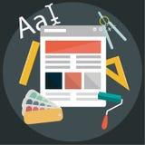 Iconos planos modernos del diseño en tema del desarrollo para el gráfico, la web, diseñadores calificando, del empaquetado, indep ilustración del vector