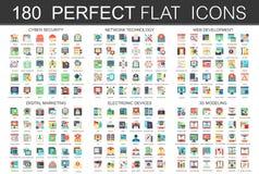 180 iconos planos modernos fijaron de la seguridad cibernética, tecnología de red, desarrollo web, márketing digital, dispositivo ilustración del vector