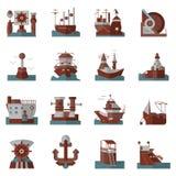 Iconos planos náuticos del color Imágenes de archivo libres de regalías