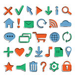 Iconos planos para el diseño web Fotografía de archivo libre de regalías