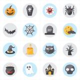 Iconos planos para el ejemplo del vector de los iconos de Halloween Fotos de archivo libres de regalías