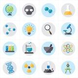Iconos planos para el ejemplo del vector de los iconos de la ciencia Fotos de archivo
