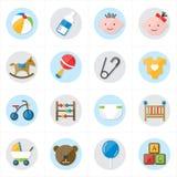 Iconos planos para el ejemplo del vector de los iconos del bebé y de los iconos de los juguetes Fotografía de archivo