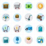 Iconos planos para el ejemplo del vector de los iconos del negocio y de los iconos del comercio electrónico Imágenes de archivo libres de regalías
