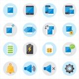 Iconos planos para el ejemplo móvil del vector de los iconos y de los iconos de la notificación Imagen de archivo