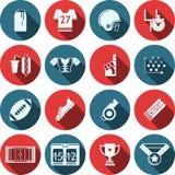 Iconos planos para el fútbol americano Foto de archivo libre de regalías