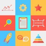 Iconos planos para el proceso de externalizado Fotografía de archivo libre de regalías