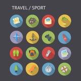 Iconos planos para el viaje y el deporte Imágenes de archivo libres de regalías