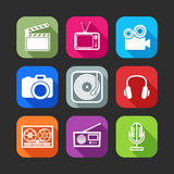 Iconos planos para el web y aplicaciones móviles con los artículos creativos de la industria Foto de archivo