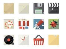 Iconos planos para el Web y el móvil stock de ilustración