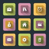 Iconos planos para el Web y el móvil Fotografía de archivo libre de regalías