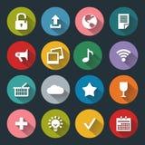 Iconos planos para el web y el móvil, blancos sobre base coloreada con la sombra larga Fotografía de archivo libre de regalías