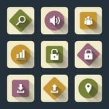 Iconos planos para la bilis del ¾ del web y del mÐ, blancos sobre base coloreada con la sombra larga Imágenes de archivo libres de regalías