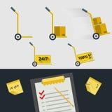 Iconos planos para la entrega de mercancías Imagen de archivo libre de regalías